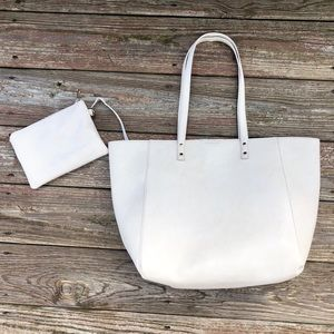 Cream Carryall Tote with Detachable Clutch